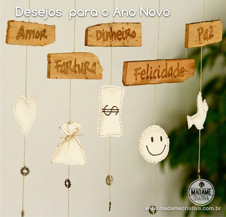 Como fazer mobile dos desejos para o ano novo - Passo a passo com fotos - How to make a mobile ( new year wishes)  - DIY tutorial  - Madame Criativa - www.madamecriativa.com.br