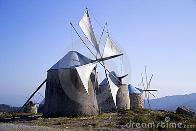 Old Windmills, Penacova, Portugal by Lfmpereira, via Dreamstime!!! Bebe'!!! Love these windmills!!!