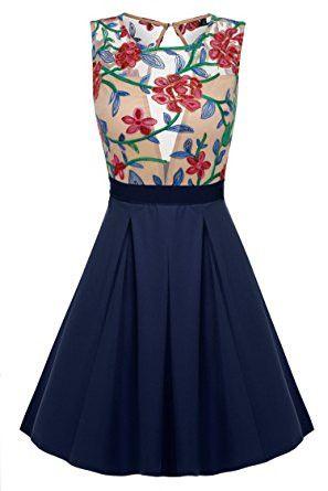 Navy Blue Floral Print See-Through Top Mini Skater Dress