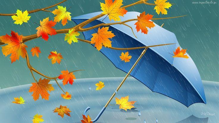 Jesienne, Liście, Parasol, Deszcz