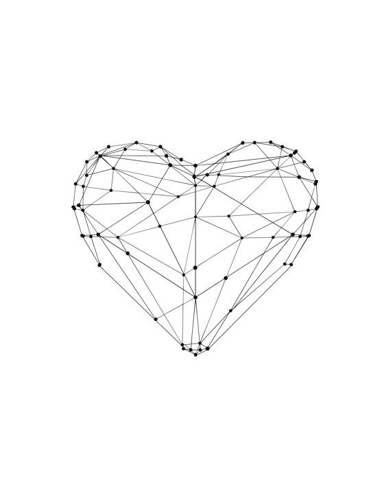 Valentines Day Love Heart Polygon Art Wall by TheMotivatedType