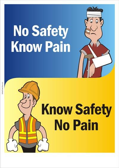 Safety Slogans ; No Safety Know Pain, Know Safety No Pain