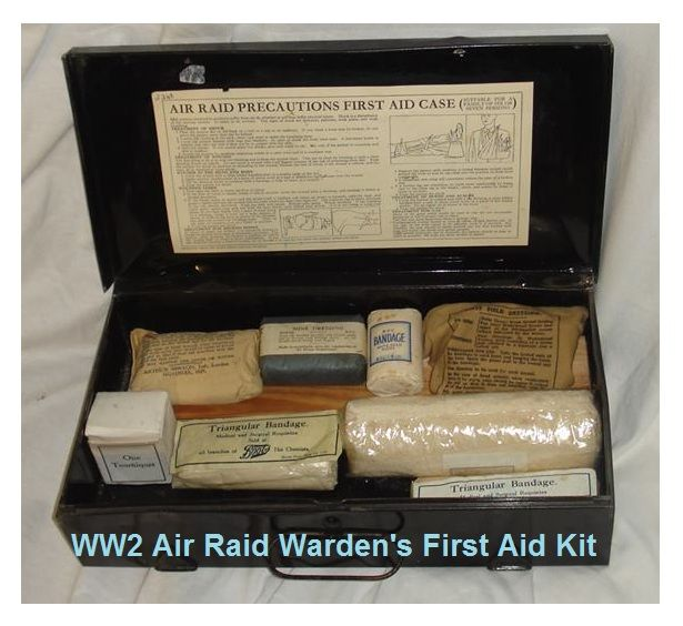 A complete first aid kit as carried by an Air Raid Warden during the Second World War.