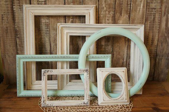 Wall Decor for Nursery - Shabby Chic Frame Set White Picture Frame Set - Gallery Wall Frames Display - White Mint Ornate Open Back Frames