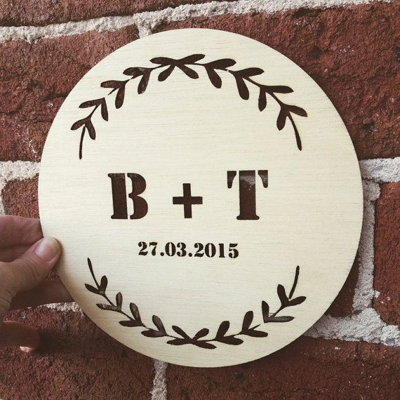 The perfect CUT OUT INITIALS custom timber plaque from Katrina Louise Designs for Engagements, Weddings, gifts and decorations.