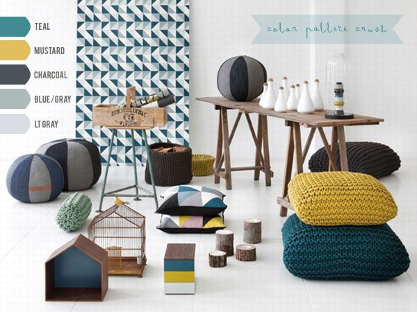 Deep Teal, Mustard Yellow and Charcoal Gray = Love. Master bedroom color scheme inspiration. charcoal/blue gray/silvery window curtains, light gray walls, Teal accent wall on head of bed surrounding double windows, charcoal teal and mustard throw pillows and accents.