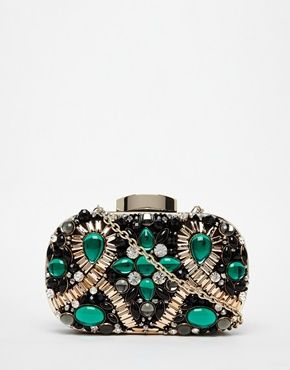 Shop ALDO Box Clutch With Emerald Green Embellishment at ASOS. Find this  Pin and more on Clutch bags ...