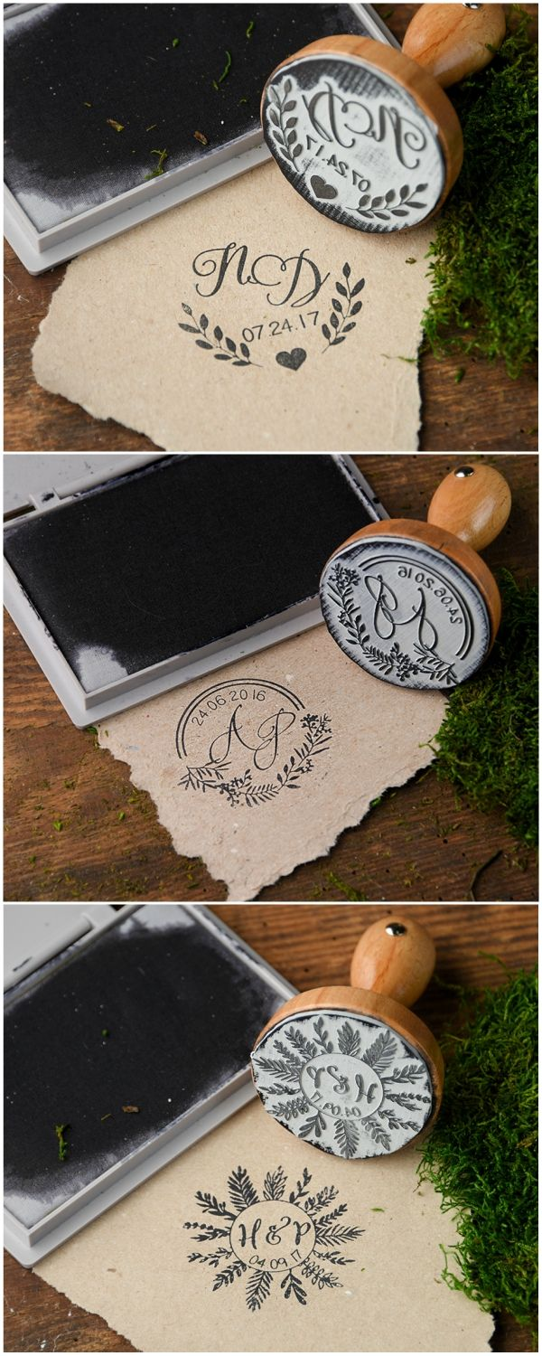 Wooden wedding stamps personalized with your initials and date! $30 per piece with complete customization #weddingideas
