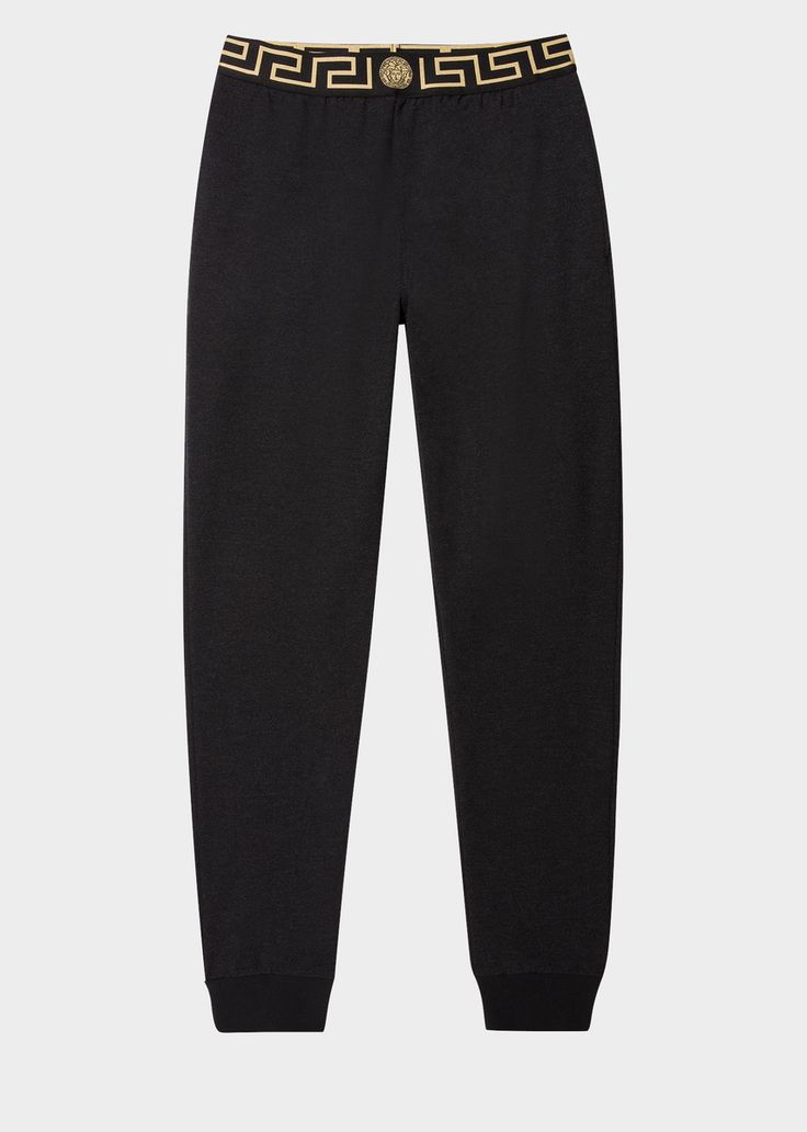 Relaxed fit, long length sleep pants with Greca border waistband and ankle hems.Greca Schlafhose pour Homme | Boutique en Ligne France