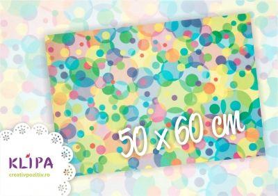 hartie de calc, klipa, buline multicolore, hartie pentru invitatii, hartie speciala, hartie craft, ambalare cadouri, aplicatii craft, 500x600mm