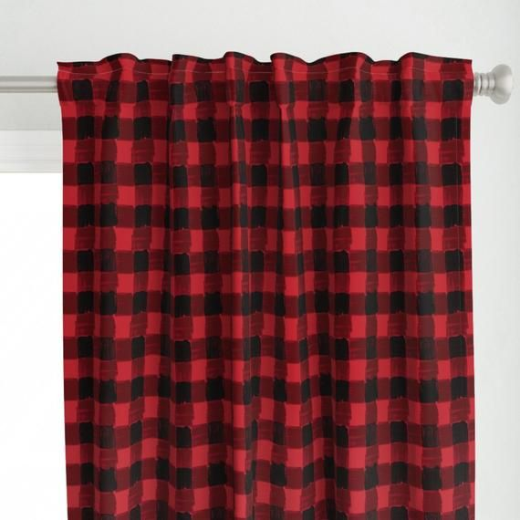 Modern Buffalo Check Curtain Panel Buffalo Plaid By