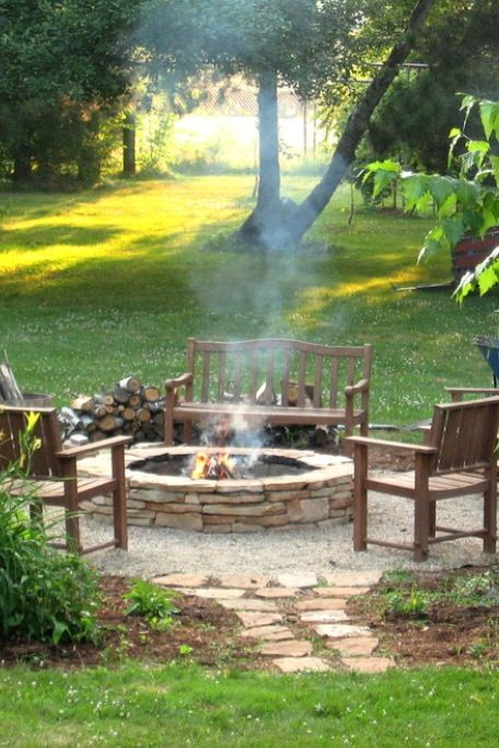 Use old stones to make a fire pit? Pea gravel around the base of the pit with stepping stones leading up to the area