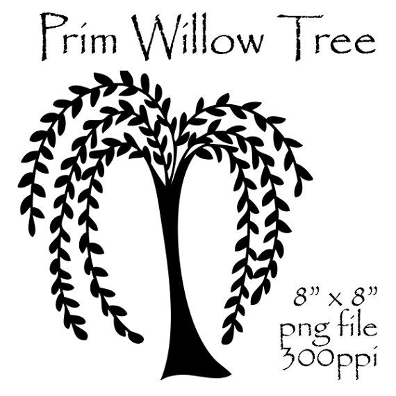 Prim Willow Tree Clipart Primitive Willow by CheriesArtsnCrafts, $1.50