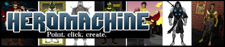 HeroMachine Character Portrait Creator | Create your own super-hero, sci-fi, or fantasy character sketch - this site has lots of options, but saving your finished product is kind of difficult