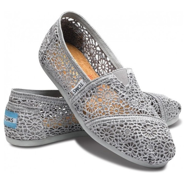 TOMS Silver Crochet Classic Women Shoes