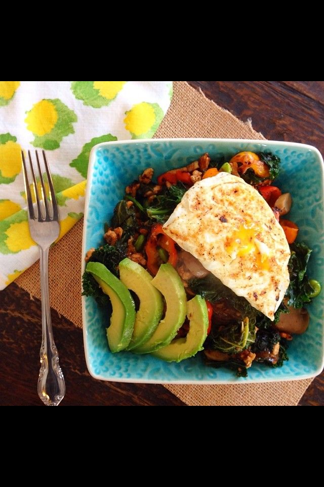 Fried egg, creamy avocado, kale, ground turkey, and sweet peppers ...