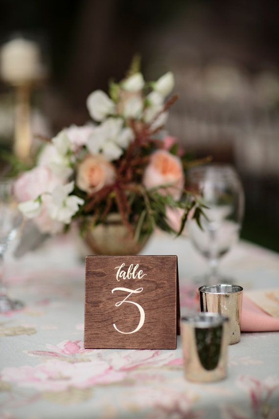 So pretty!! Wooden Table Numbers Wedding : Hand Painted & by papertangent