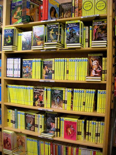 Powell's Bookstore. Yes that is a wall of Nancy Drew.