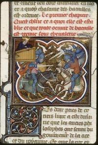 The King watches a battle ....Besançon - BM - ms. 0434 f. 232  Paris, France (1372)  Bibliothèque municipale de Besançon