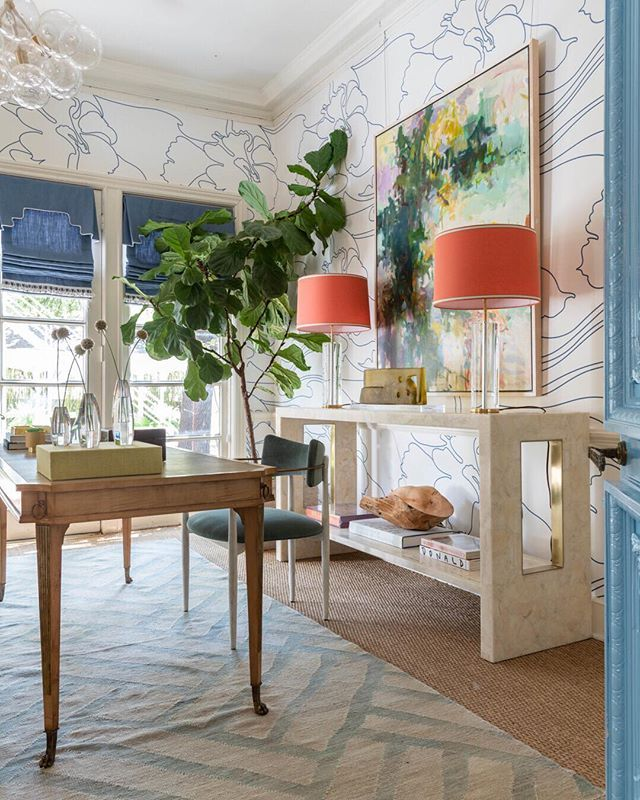 Blue Print In Dallas Office Design Wallpaper By Quadrille Shell Console With Br Inlay Fiddle Leaf Fig Tree Custom Lamp Colored Shade