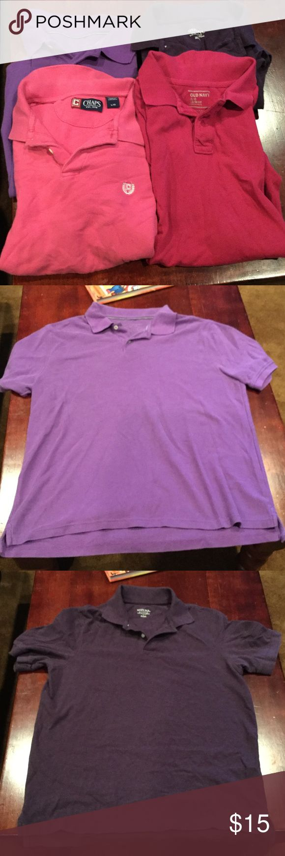 4 Large Polo Shirts 1 pink Chaps polo.  1 pink Old Navy Slim Fit polo.  1 purple Merona polo. 1 lite purple polo. Great condition. No holes or stains Chaps Shirts Polos