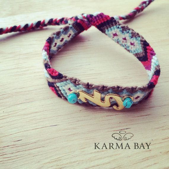 Colourful #friendship bracelet to celebrate the coming of the new year! A #gold plated 2015 connector is attached on the bracelet secured with 2 #turquoise beads #NewYear #KarmaBay #Gifts #handmade #jewellery