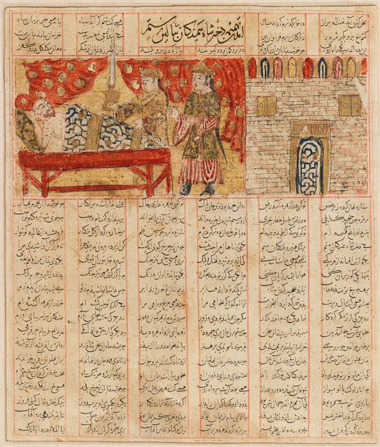 Tahmineh comes to Rostam Ferdowsi, Shahnameh Inju: Shiraz, manuscript commissioned March 1341 Patron: Qavam al-Dowleh w'al-Din Hasan, vizier to the governor of Fars Scribe: Hasan b. Mohammad b. 'Ali Hoseyni al-Mowsili As in No. 18, Rostam is approached by Tahmineh, the daughter of the King of Samagan in whose castle the hero is spending the night. Tahmineh, presumably the lady on the right (the other lady is her attendant), is a determined figure.