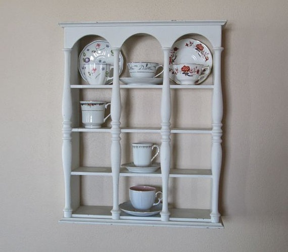 Vintage Tea Cup Display Shelf Wooden White By