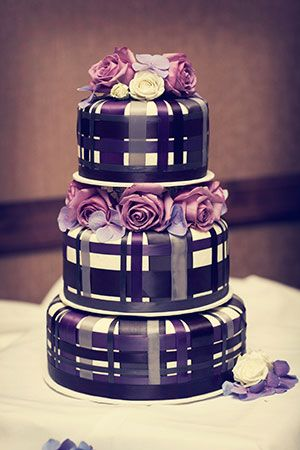 Purple Plaid Wedding Cake!