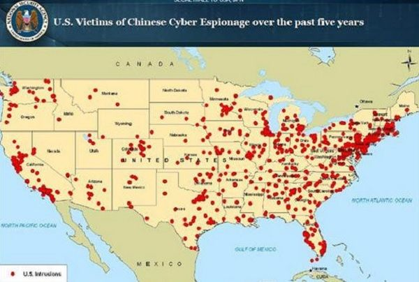 NBC News managed to snag a top-secret map from the National Security Agency (NSA) which shows that there was a huge number of cyber assaults targeted at the United States' economy by the Chinese government.