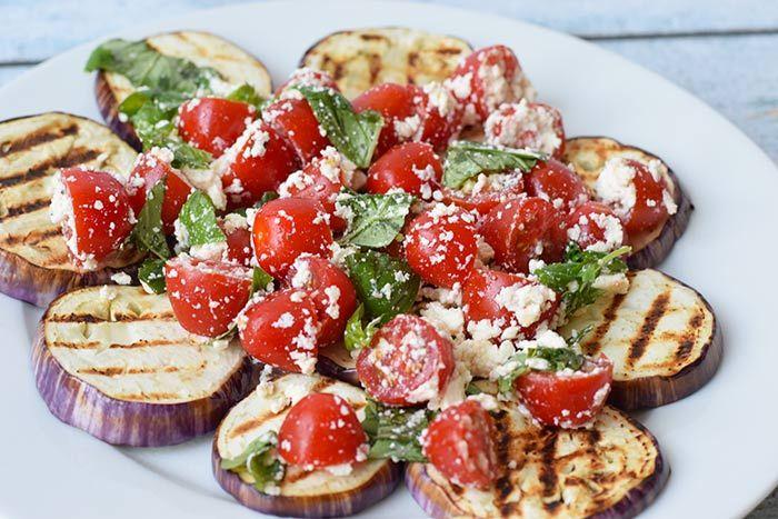 grilled eggplant with tomato and feta - karlijnskitchen.com