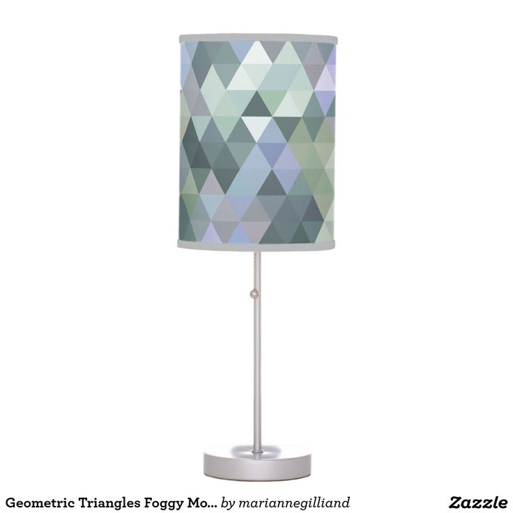 Geometric Triangles Foggy Morning Blues Table Lamps