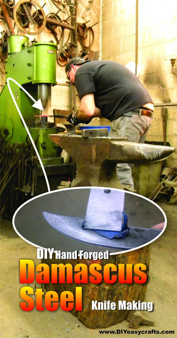 DIY Hand Forged Damascus Steel for knife making. www.DIYeasycrafts.com