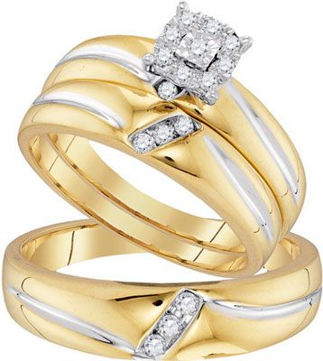 Three Piece Wedding Set 10K Yellow Gold 022 Cts GD 96759