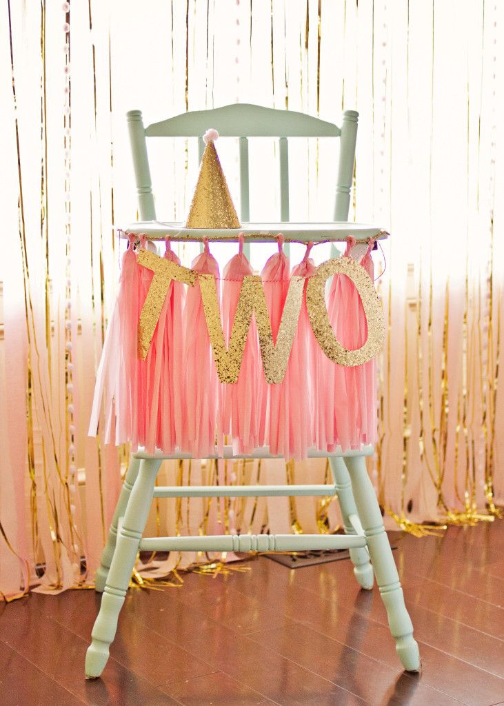 Pink and Gold High Chair Tassel and Garland - #birthday #smashcakeBirthday Highchair Decorations, Birthday Parties, Gold Birthday, 1St Birthday, Diy Birthday Highchair Banners, Parties Ideas, Girls Birthday, 2Nd Birthday, High Chairs