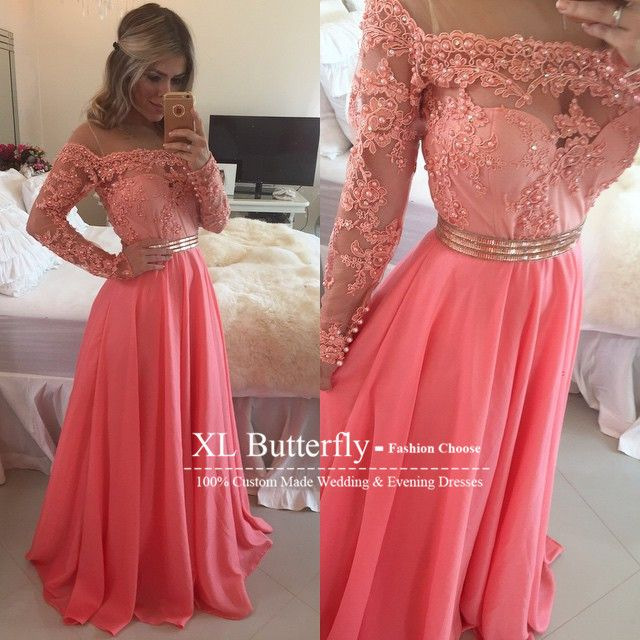 Find More Prom Dresses Information about Vestidos de festa vestido longo Off The Shoulder Elegant Lace Applique Beaded Coral Chiffon Long Prom Dresses 2015 Evening Gowns,High Quality gown corset,China dress like movie star Suppliers, Cheap dresses gown from xlbutterfly on Aliexpress.com