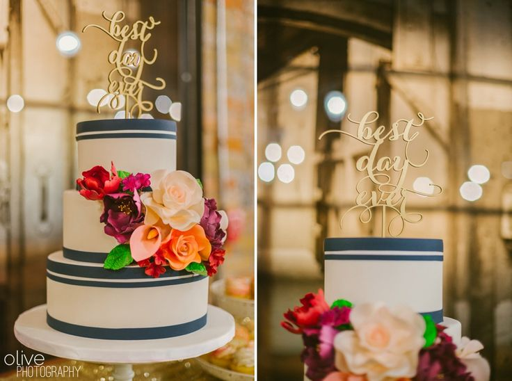 Best day ever cake topper, white and navy wedding cake, fondant flowers - | Olive Photography | www.olivephotography.ca | Toronto & GTA wedding photographer - at Archeo, Distillery District