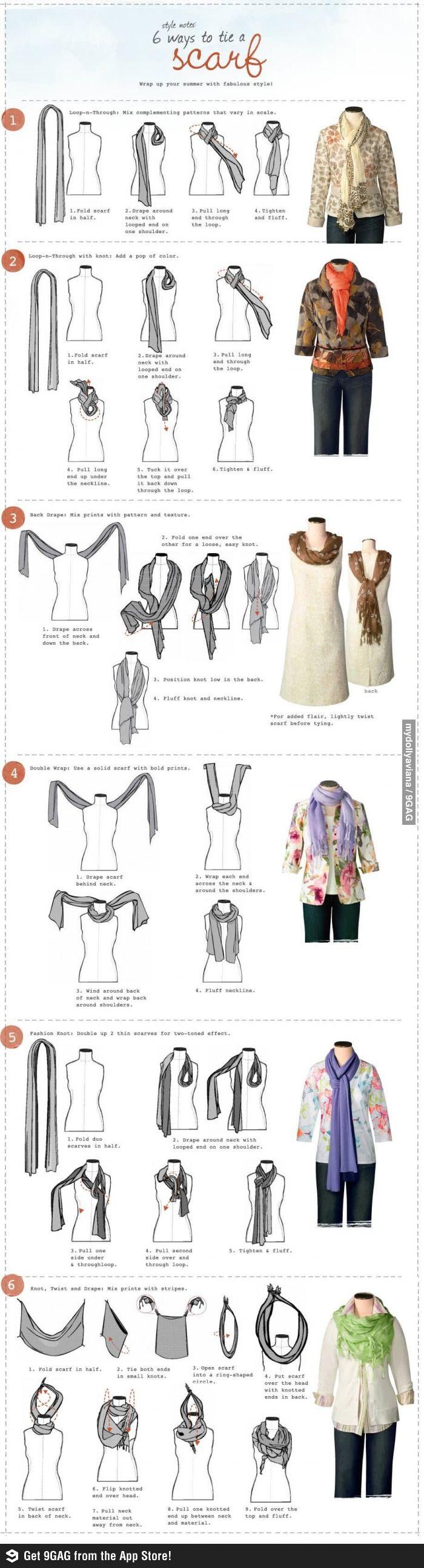 six ways to tie a scarf.