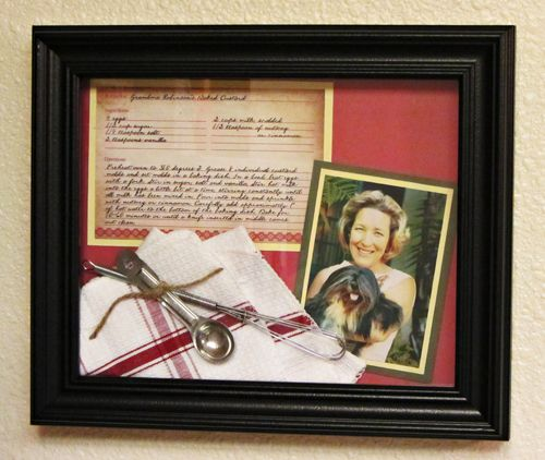 DIY: Family Recipe Shadowbox Frame (make your own shadowbox frame from two $3 frames - add an old family recipe card) #craft #diy
