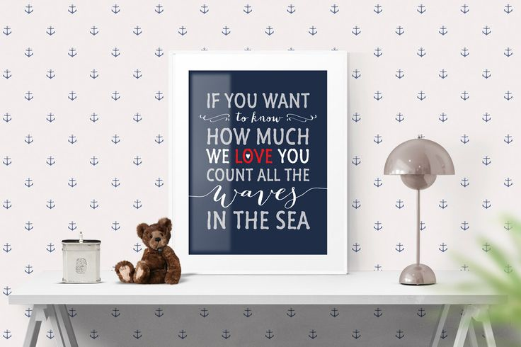 Nursery Art Print Decor, If you want to know how much we love you, Red Navy, 8 x 10 and 16 x 20, Inspirational Motivational Wall Art | #139 by WisdomWallArt on Etsy