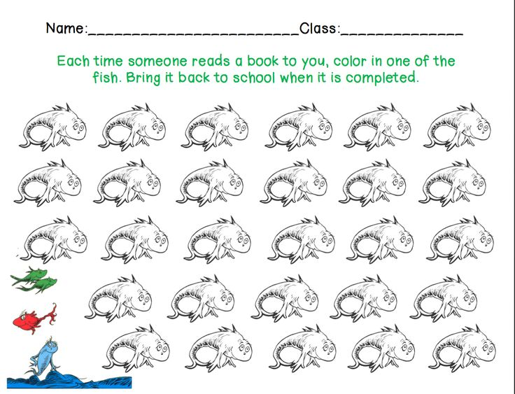 dr seuss reading logs one fish two fish red fish blue fish read across america
