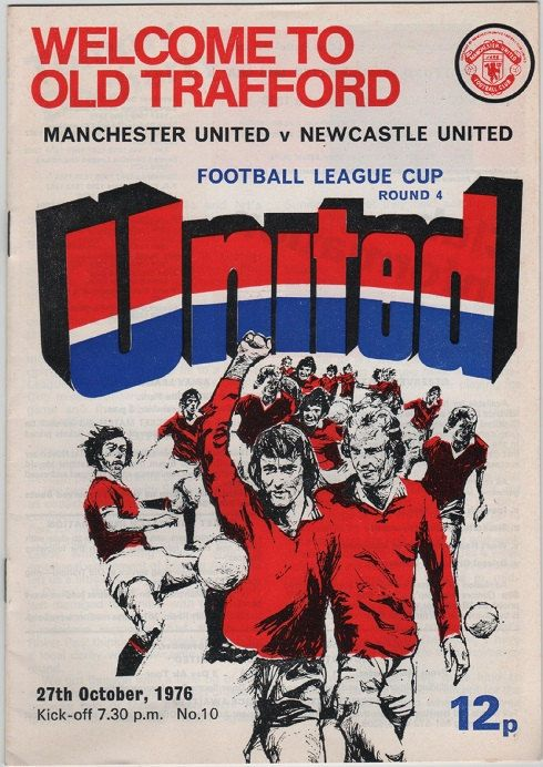 Vintage Football Programme - Manchester United v Newcastle United, League Cup 4th Round, 1976/77 season