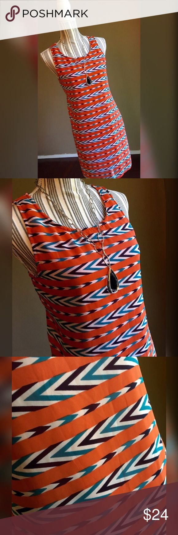 "Tea n Rose Dress Chevron Mod-Style Dress by Tea n Rose. Zips in the back. Orange, white, turquoise, black. Bust 40"". Length 33.5"". Info tag is missing but this dress fits a Large. Tea n Rose Dresses"