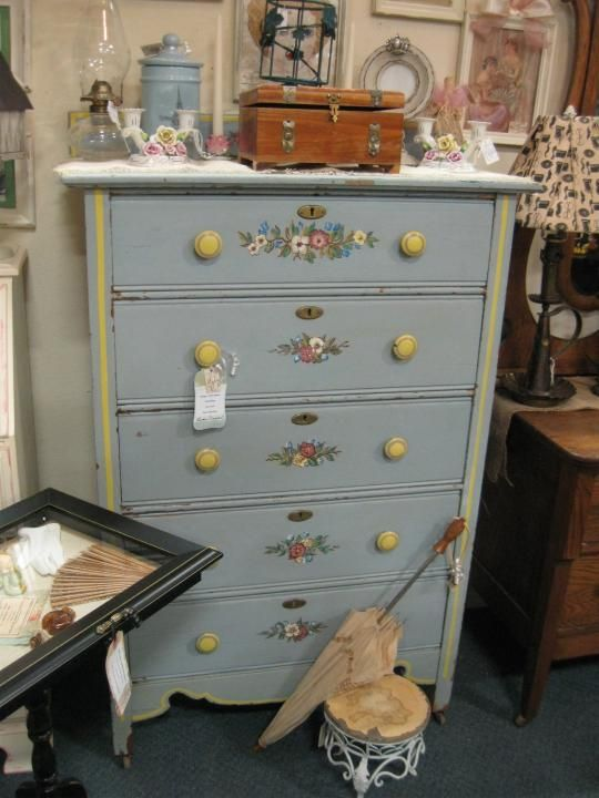Shabby painted 5 drawer dresser. Available at the Brass Armadillo Antique Mall in Denver, CO. Vendor 348. $170.00