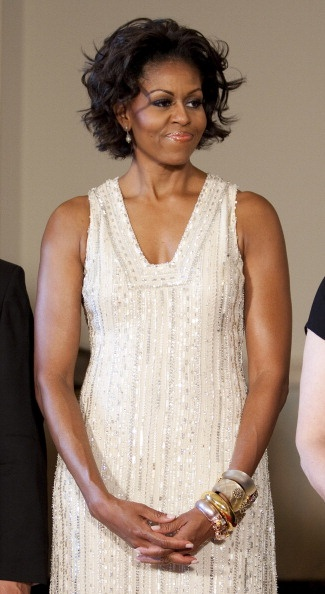 Michelle Obama German Chancellor Angela Merkel For Official Visit To Washington Getty Images pf