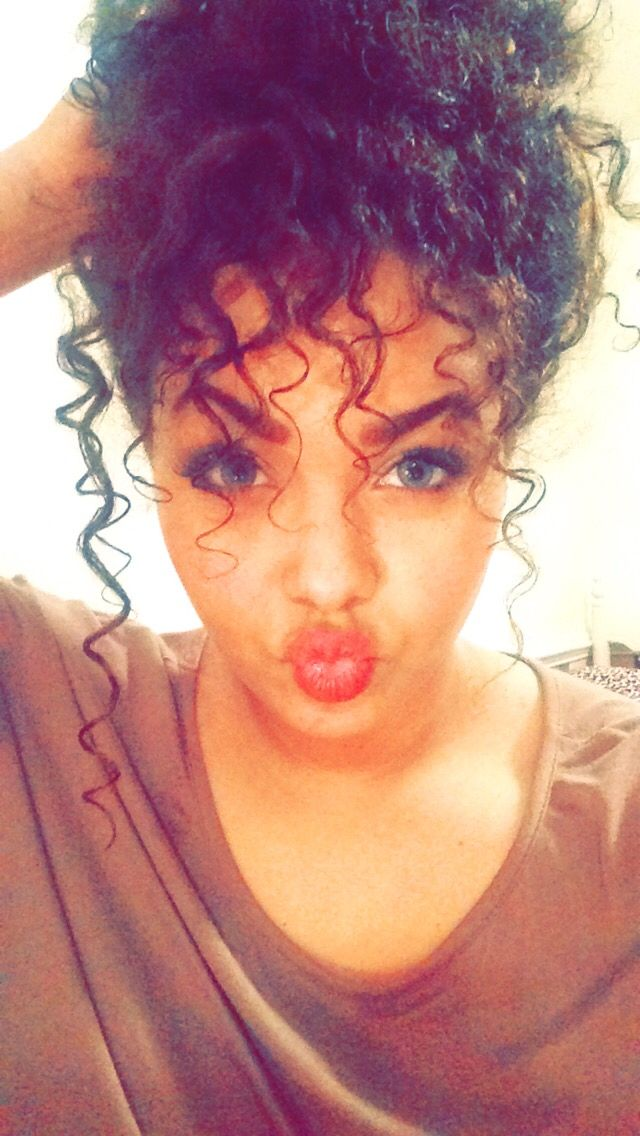 curly bangs messy bun
