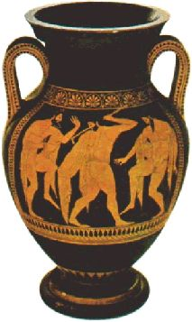 This amphora, painted by Euthymides, son of Polias, over 2500 years ago, was found in Vulci in Etruria.