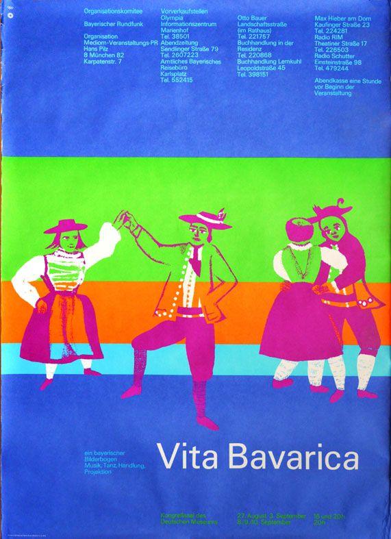 """Olympische Spiele 1972 München KULTUR-EDITION """"Vita Bavarica"""" DIN A0 Otl Aicher"""