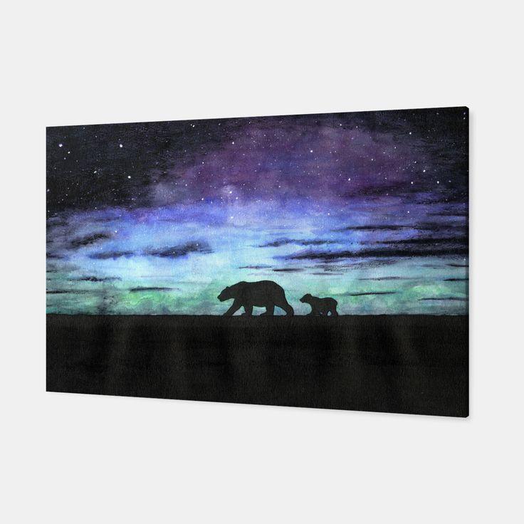 Aurora borealis and polar bears