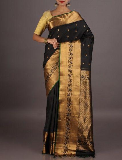 Neerja Bold Black With Molten Gold Ornate Border Pallu Standout Gadwal Silk Saree